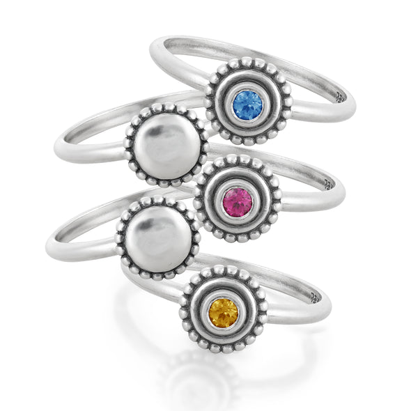 Gemstone Birthstone Stacking Ring Sterling Silver - Danny Newfeld Collection