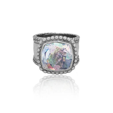 Roman Glass Band Ring Sterling Silver - dannynewfeld