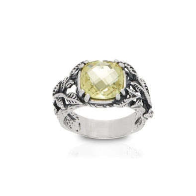 Cushion Cut Gemstone Ring Sterling Silver
