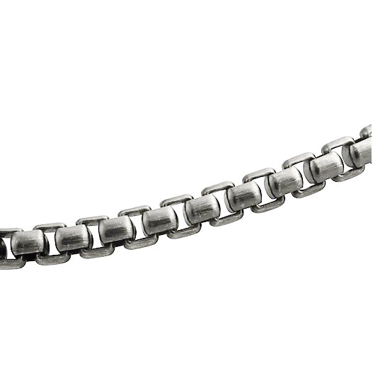 Men's Sterling Silver Box Link Gunmetal Chain Necklace - dannynewfeld