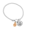 Stretch Charm Bracelet with Rose and Heart Charms Sterling Silver - dannynewfeld