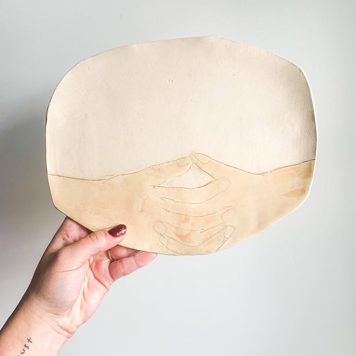 Ceramic Hands Plate by Lisa Levine