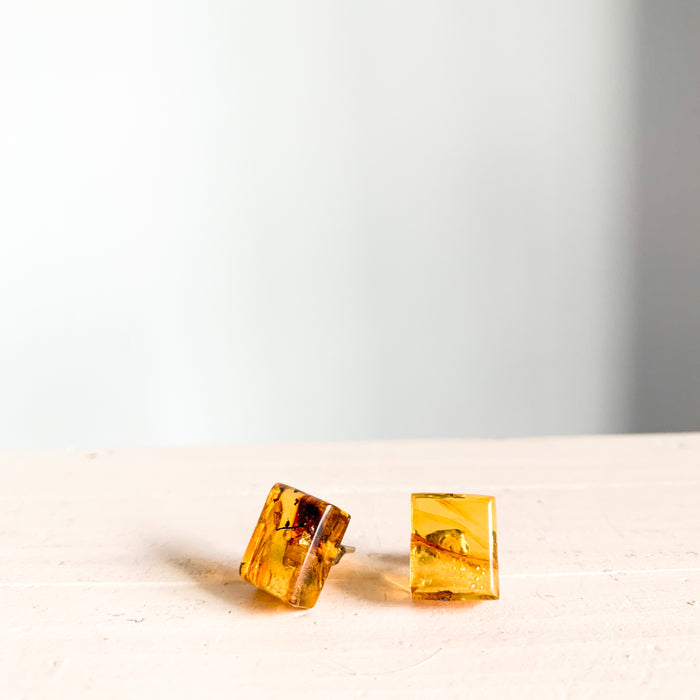 Amber Stud Earrings Square