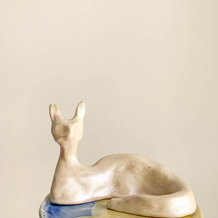 White Ceramic Cat by Teva Livne