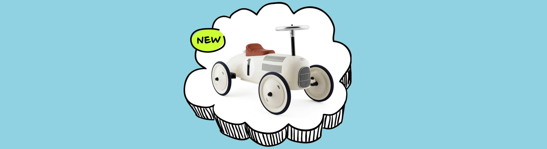 Kids Classic Vintage Racer Metal Ride On Push Car