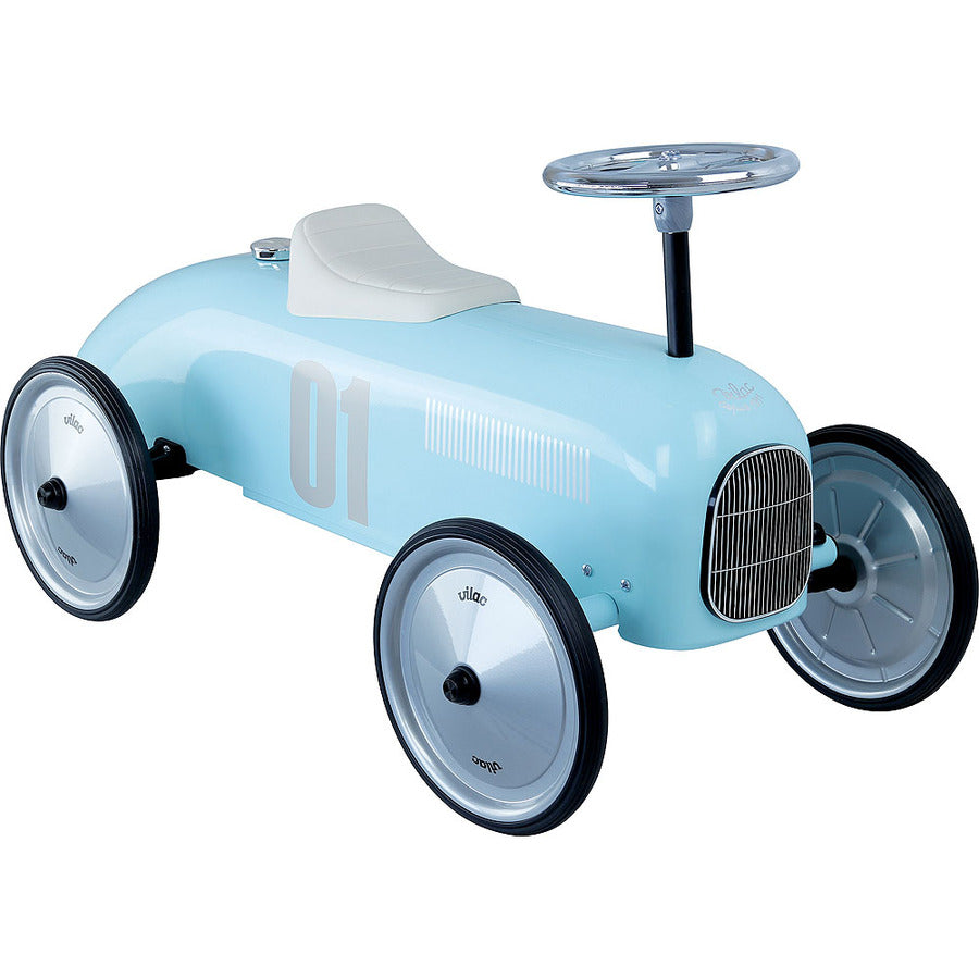 Kids Classic Vintage Racer Metal Ride On Push Car | Baby Blue