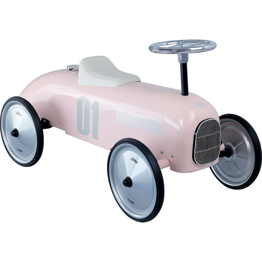 Kids Classic Vintage Racer Metal Ride On Push Car | Baby Pink
