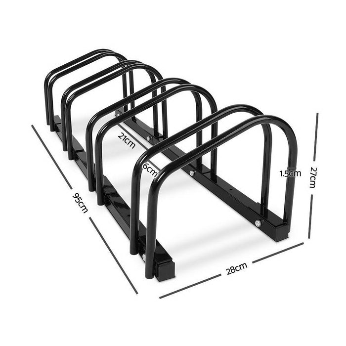 Stand Tall Portable 4 Bike Parking Rack Stand | Black