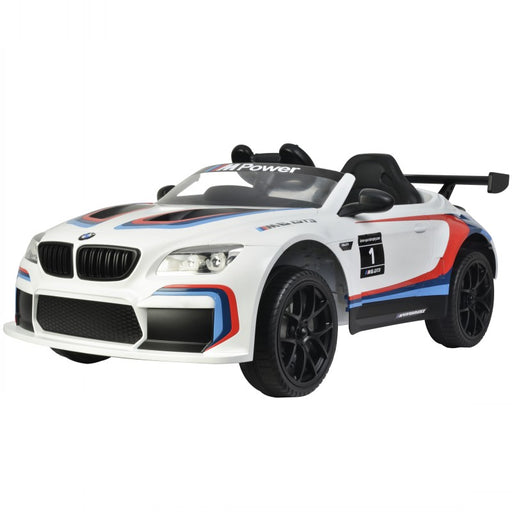 BMW Officially Licensed M6 GT3 Kids Ride On Car | White/M6 Stripes