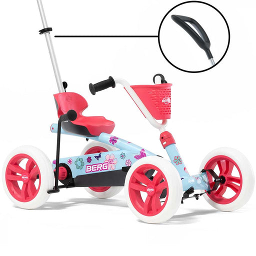 Berg Buzzy 2-in-1 Kids Push & Pedal Powered Go Kart with Basket & Stickers | Bloom
