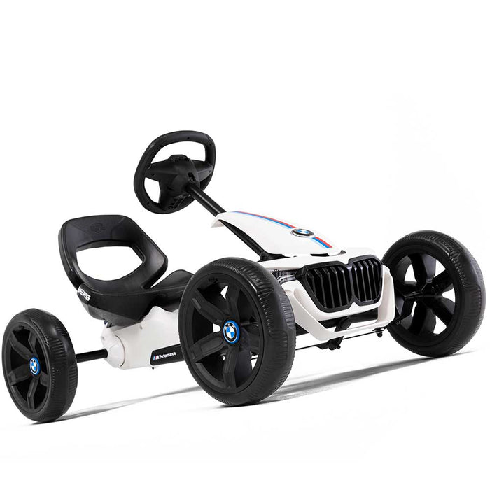 Berg Reppy Officially Licensed BMW Kids Pedal Powered Go Kart | White with BMW Stripes