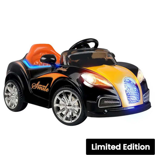 Bugatti Inspired Kids Ride On Car with Remote Control Black Orange