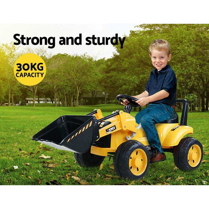 Bulldozer Digger Inspired Kids Ride On Electric Car | Yellow