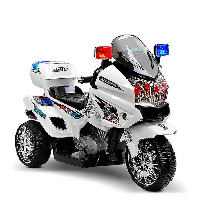 Deluxe Police Inspired Kids Ride On Motorcycle White