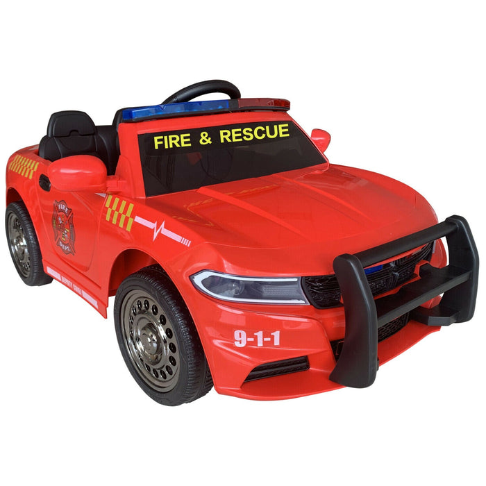 Dodge Charger Fire & Rescue Inspired Kids Ride On Car | Fire Engine Red