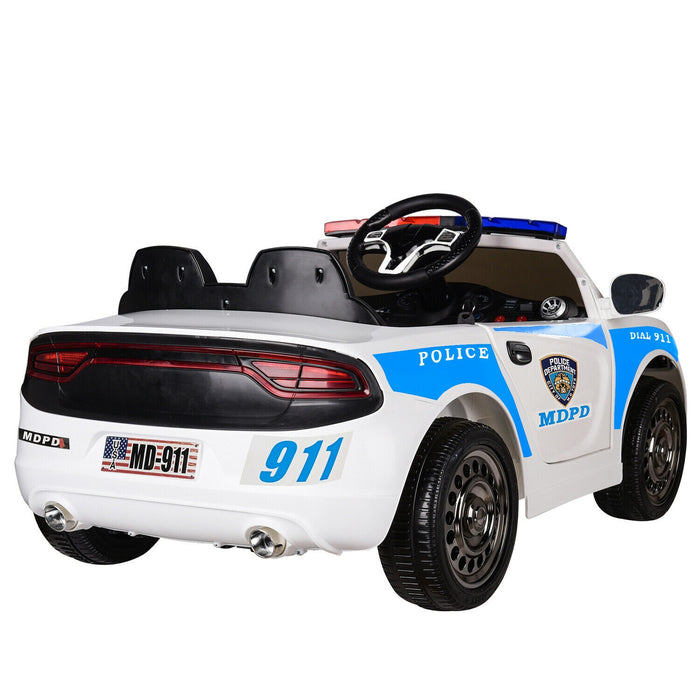 Ford Mustang GT350 Highway Patrol Inspired Kids Ride On Car | White/Blue