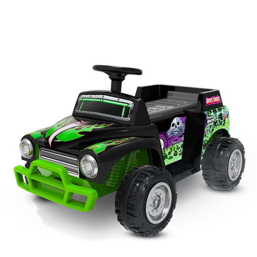 Monster Jam Licensed Grave Digger Monster Truck Kids Ride On | Black/Skulls
