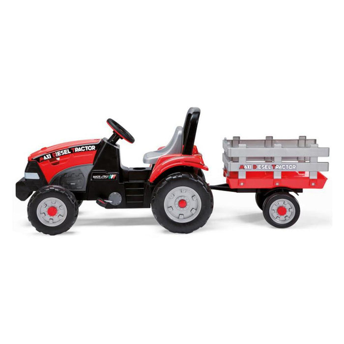 Peg Perego Maxi Diesel Pedal Powered Kids Tractor with Trailer | Red/Grey