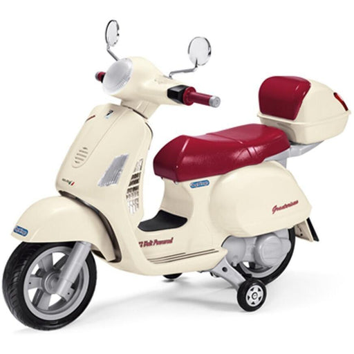Peg Perego Officially Licensed Vespa Kids Ride On Scooter | Vanilla/Crimson