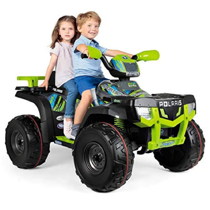 Peg Perego Officially Licensed Polaris 850 Two Seater Kids Ride On Car | Lime/Black