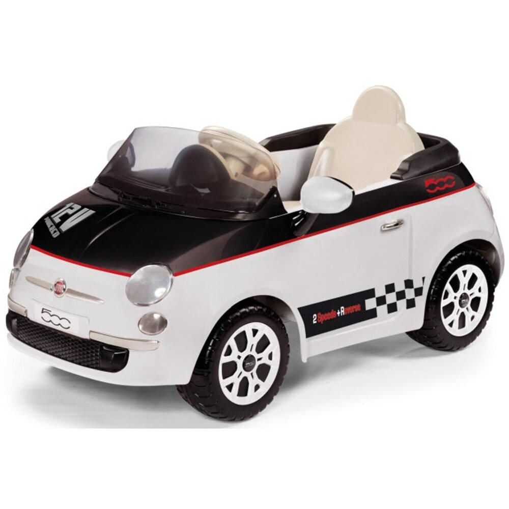 Peg Perego Officially Licensed Deluxe Fiat 500 Kids Ride On Car | Checkered White (Limited Edition)