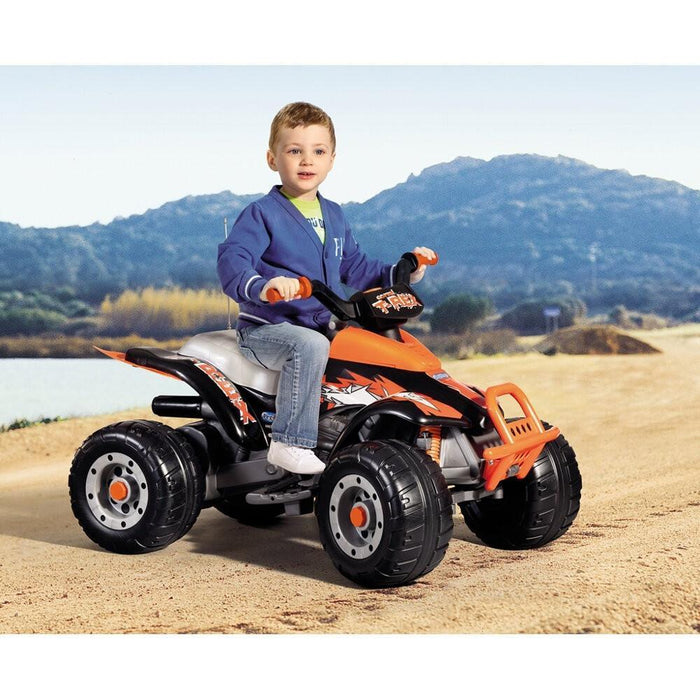 Peg Perego T-Rex Kids Ride On Quad Motorcycle | Orange/Black