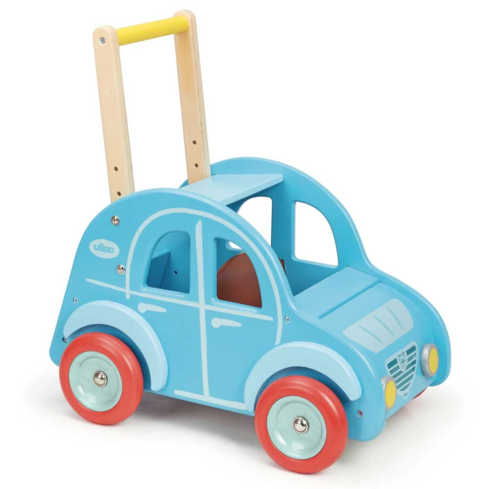 Kids Retro Wooden Toy Car Pusher & Walker |  Powder Blue