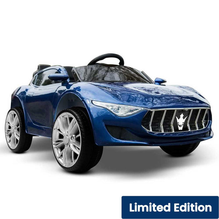 Maserati Inspired Kids Ride On Car with Remote Control Metallic Blue