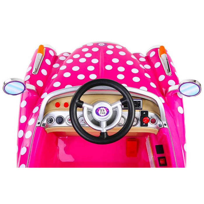 Disney Licensed Minnie Mouse Rolls Royce Inspired Kids Ride On Car | Pink with Polka Dots