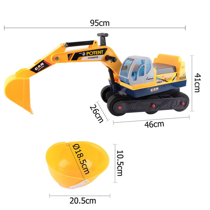 Construction Inspired Kids Ride On Car Excavator with Helmet | Yellow