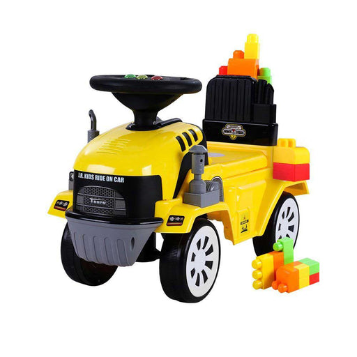 Construction Inspired Kids Ride On Car Excavator with Building Blocks | Yellow