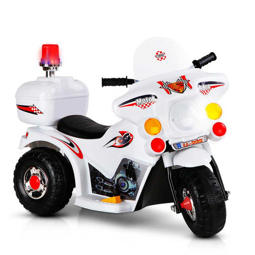 Police Inspired Kids Ride On Motorcycle | White