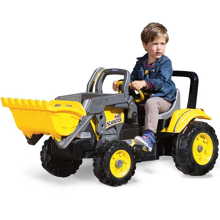 Peg Perego Maxi Excavator Digger Pedal Powered Kids Ride-On | Yellow