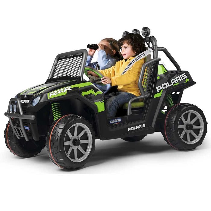 Peg Perego Officially Licensed Polaris Ranger Razor Two Seater Kids Ride On Car | Green/Black