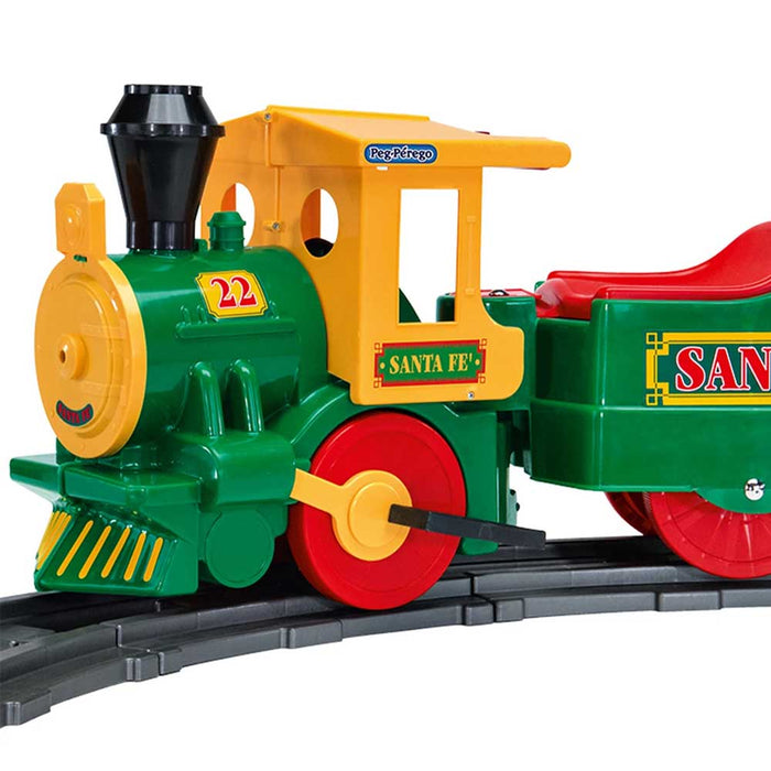 Peg Perego Santa Fe Express Kids Ride On Train with Figure 8 Track | Green/Red/Yellow