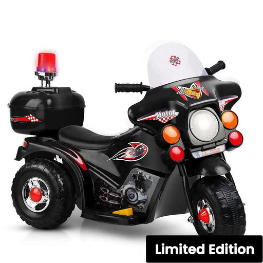 Police Inspired Kids Ride On Motorcycle Black