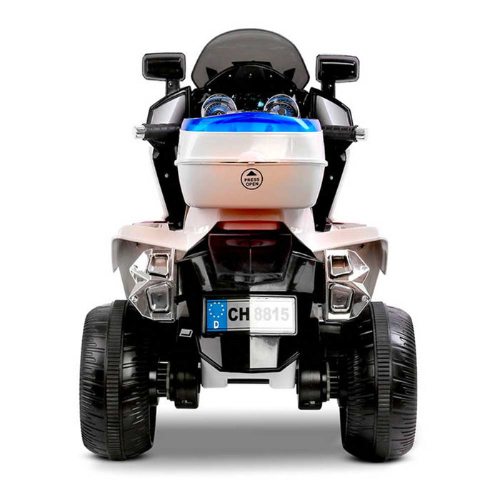 Deluxe Police Inspired Kids Ride On Motorcycle | White