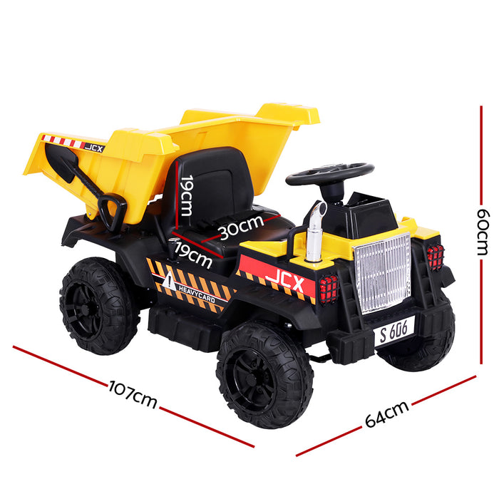 Construction Inspired Dump Truck Bulldozer Kids Ride On Electric Car | BlackYellow