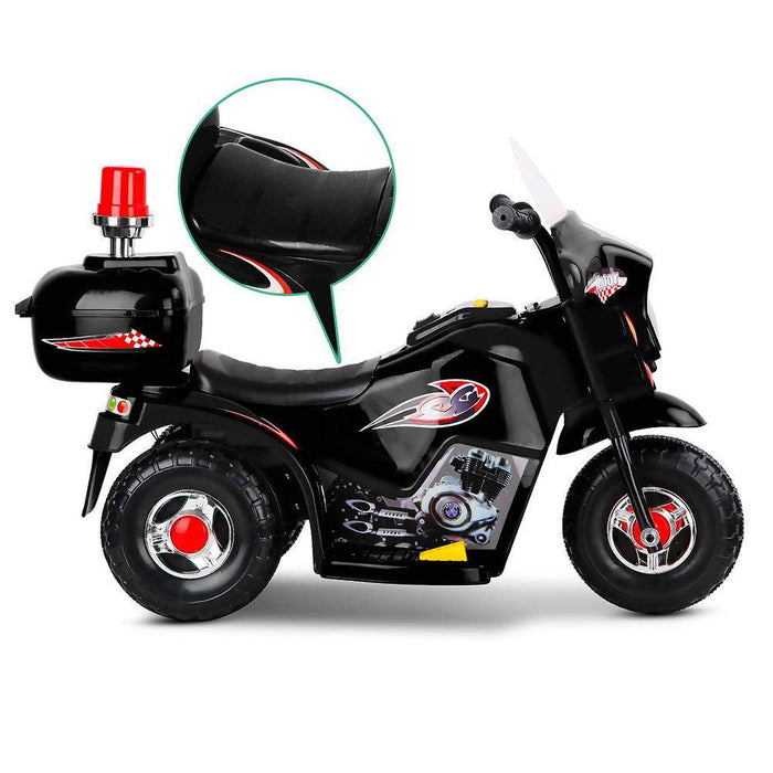 Police Inspired Kids Ride On Motorcycle | Black (Limited Edition)