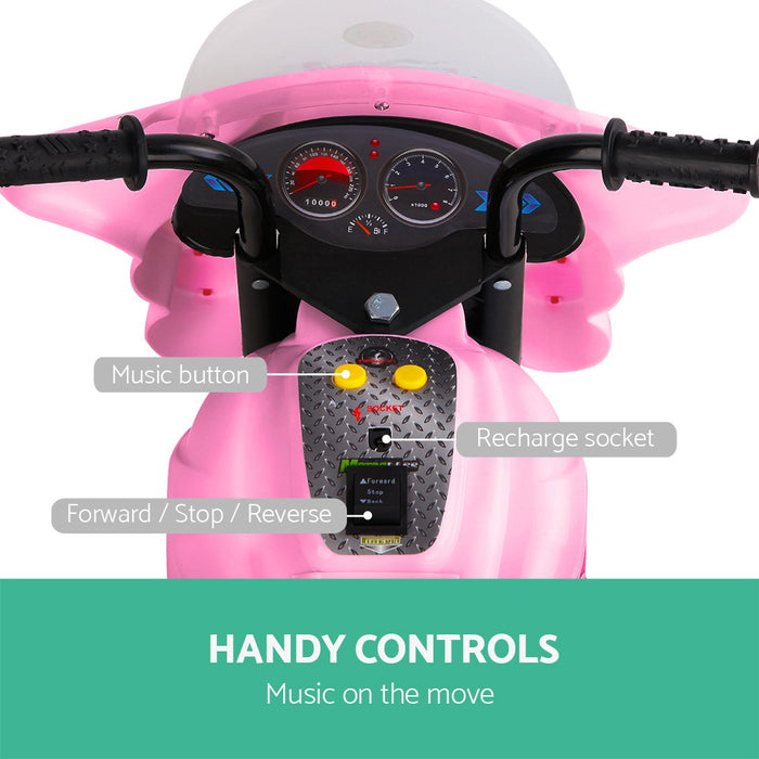 Police Inspired Kids Ride On Motorcycle | Pink