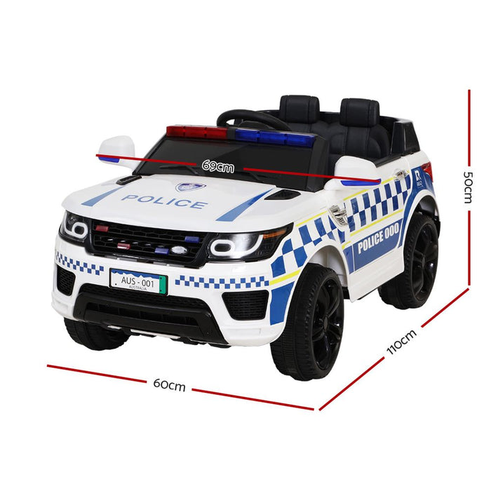 Range Rover Police Inspired Kids Ride On Car with Remote Control | White