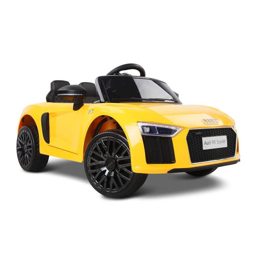 Audi R8 Spyder Licensed Kids Ride On Car with Remote Control | Flame Yellow