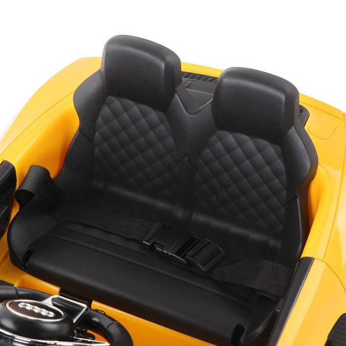 Audi R8 Spyder Licensed Kids Ride On Car with Remote Control | Flame Yellow - Dealzilla.com.au