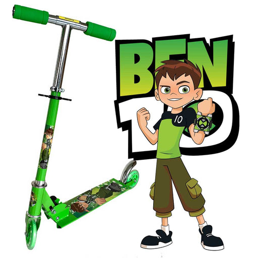 Foldable, Portable & Height Adjustable Kids BEN 10 Scooter | Green