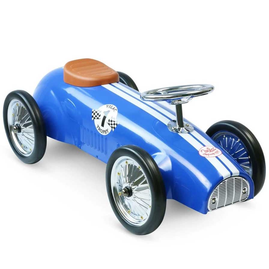 Kids Speedster Vintage Racer Metal Ride On Push Car | Cobalt Blue