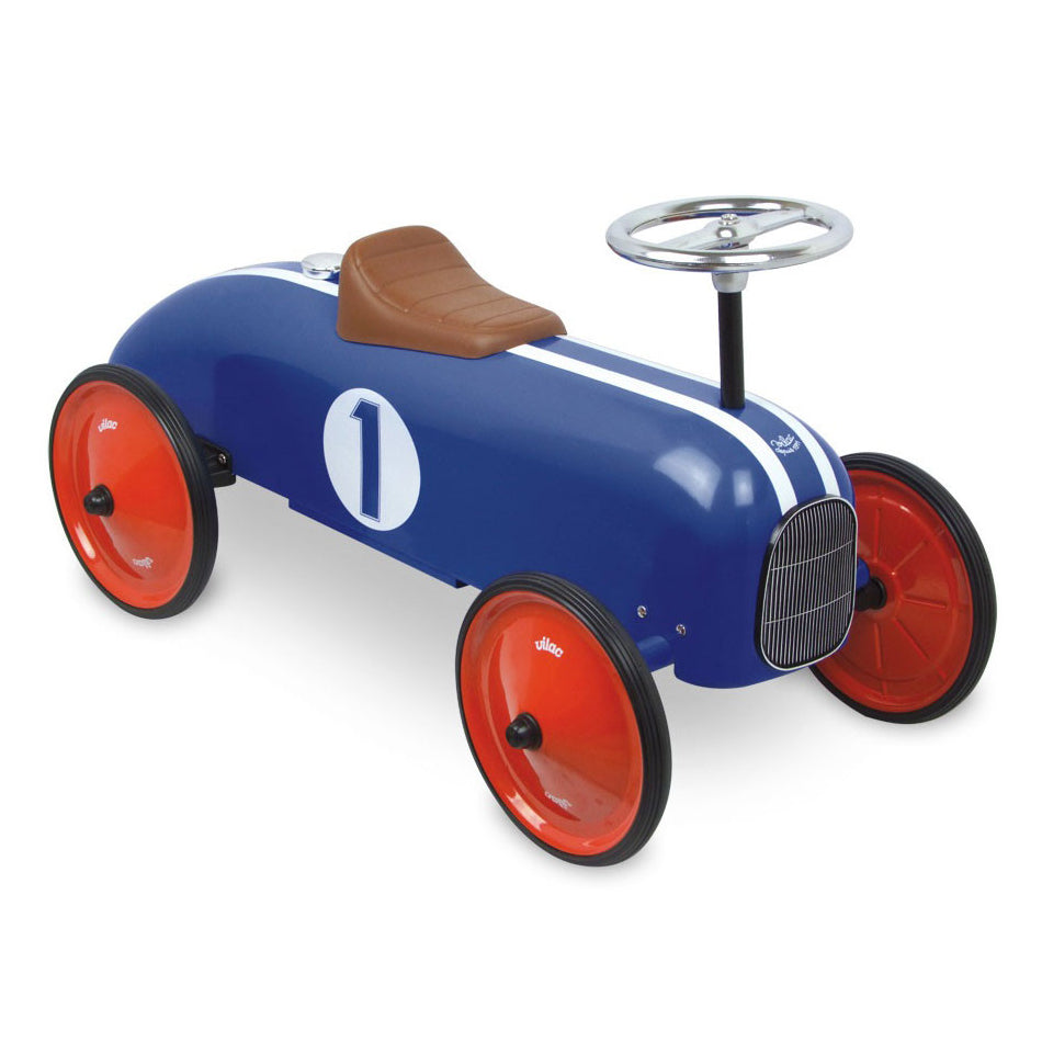 Kids Classic Vintage Racer Metal Ride On Push Car | Royal Blue