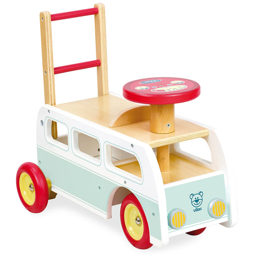 Kids Retro Wooden Toy Combi Pusher & Ride On | White/PistachioKids Retro Wooden Toy Combi Pusher & Ride On | White