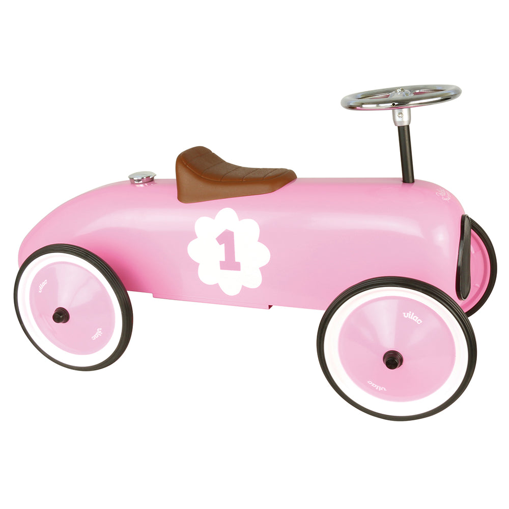Kids Classic Vintage Racer Metal Ride On Push Car | Blush Pink