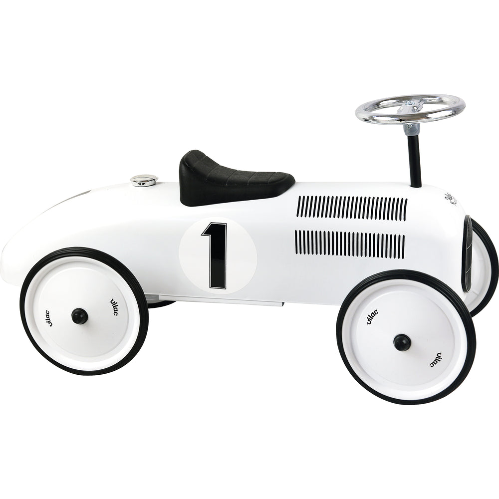 Kids Classic Vintage Racer Metal Ride On Push Car | Polar White