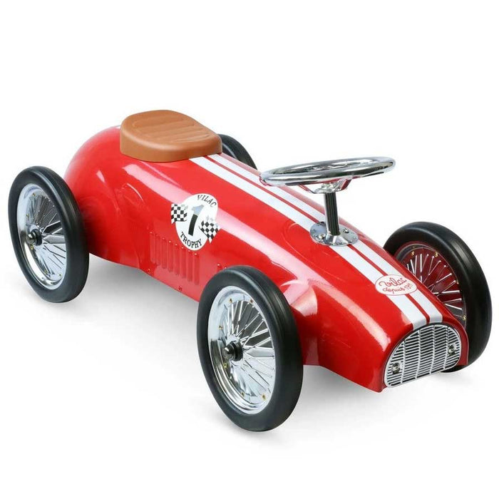 Kids Speedster Vintage Racer Metal Ride On Push Car | Racing Red